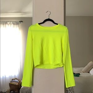 NEON YELLOW CREWNECK FITTED SWEATER